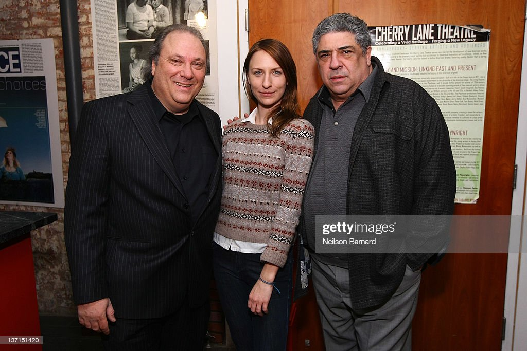Richard Vetere, Mickey Sumner and Vinny Pastore attend the celebration of Richard Vetere's 60th birthday with readings from his plays at Cherry Lane Theatre on January 15, 2012 in New York City.