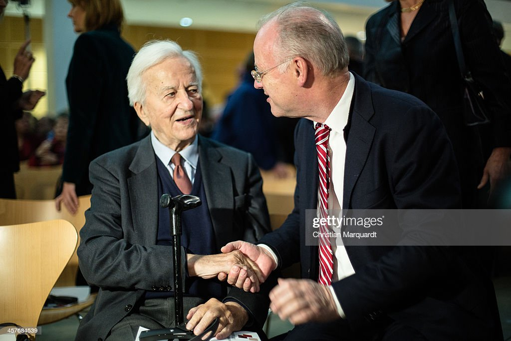 Richard von Weizsaecker and <a gi-track='captionPersonalityLinkClicked' href=/galleries/search?phrase=Rudolf+Scharping&family=editorial&specificpeople=765174 ng-click='$event.stopPropagation()'>Rudolf Scharping</a> pose together during the celebration '100th Anniversary of Willy Brandt' on December 18, 2013 in Berlin, Germany. Brandt was born on December 18, 1913 and he was the 4th Chancellor of the Federal Republic of Germany.