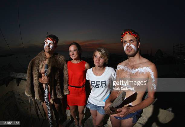 Richard Walley a Nyoongar elder Elise Rechichi a Beijing Olympic Gold Medallist and Australian round the world sailor Jessica Watson attend the...
