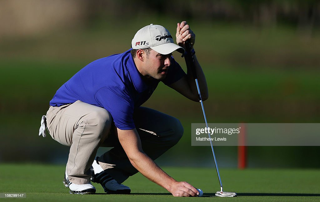 Richard Wallis of Walmer and Kingsdown Golf Club lines up a putt on the 9th green during the final day of the Titleist PGA Play-Offs at the PGA Sultan Course, Antalya Golf Club on December 12, 2012 in Antalya, Turkey.