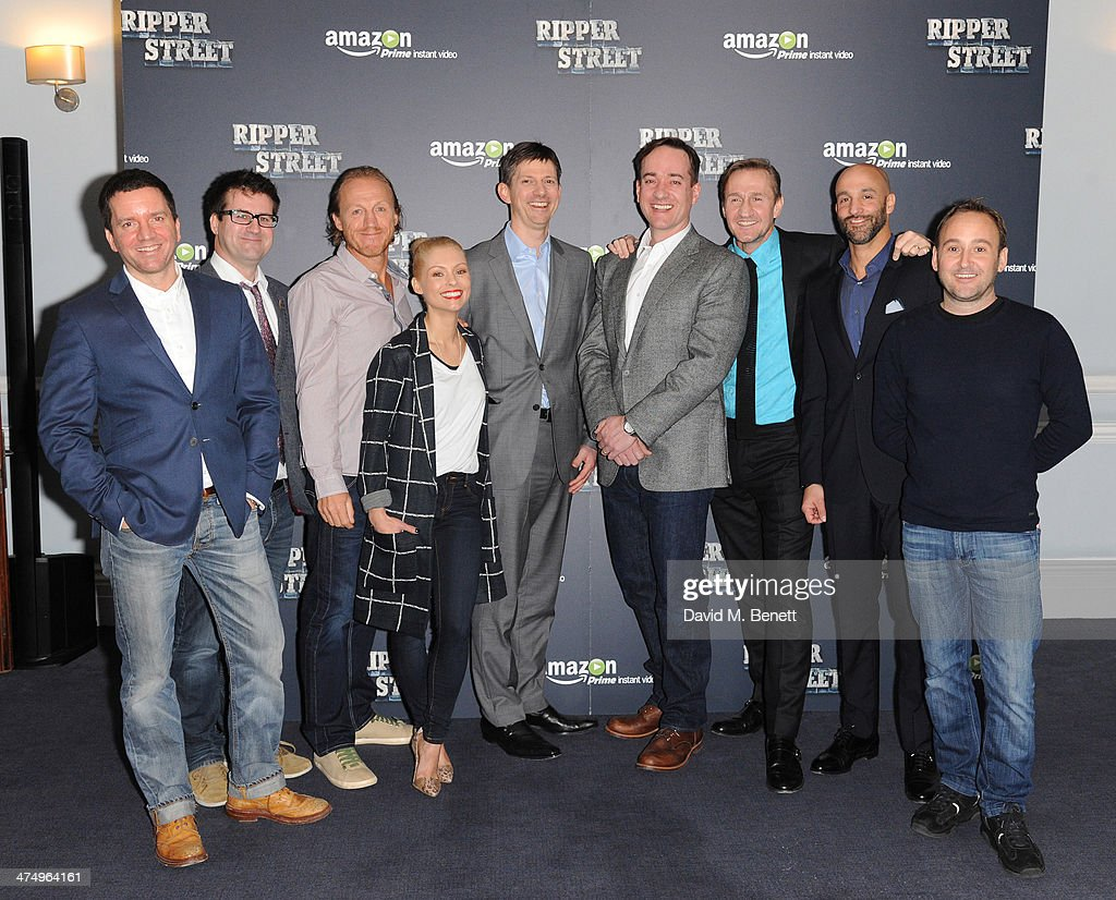 Richard Warlow, Writer; Will Gould Head of Tiger Aspect; Jerome Flynn; MyAnna Buring; Tim Leslie, VP Amazon Instant BVideo Europe; Matthew McFadden; Simon Morris, Chief Marketing Officer Amazon Instant Video UK; Jason Ropell Head of International Content Division Amazon Instant Video; Simon Vaughn Chief Exec Lookout Point pose for the launch of drama 'Ripper Street' on Amazon Prime Instant Video, on February 26, 2014 in London, England.