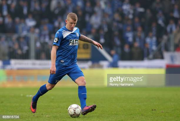Richard Weil of Magdeburg runs with the ball during the Third League match between 1 FC Magdeburg and FSV Zwickau at MDCC Arena on February 5 2017 in...