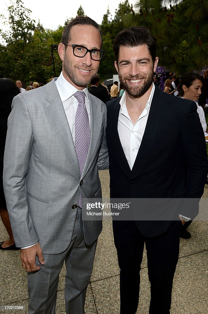 Richard Weitz (L) and host <a gi-track='captionPersonalityLinkClicked' href=/galleries/search?phrase=Max+Greenfield&family=editorial&specificpeople=599135 ng-click='$event.stopPropagation()'>Max Greenfield</a> attend the 12th Annual Chrysalis Butterfly Ball on June 8, 2013 in Los Angeles, California.