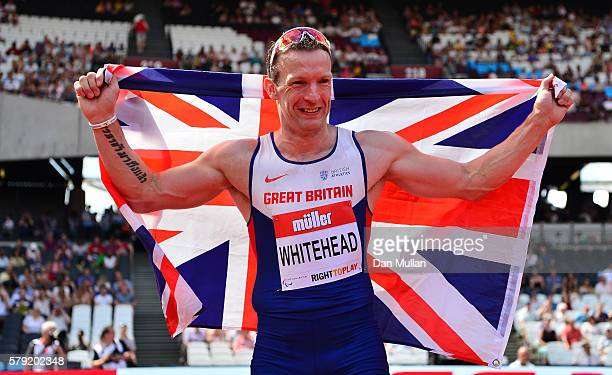 Richard Whitehead of Great Britain celebrates after setting a new world record in the Men's T42 200m during Day Two of the Muller Anniversary Games...