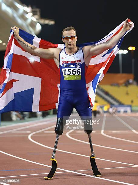 Richard Whitehead of Great Britain celebrates his world record and winning the men's 200m T42 final during the Evening Session on Day Seven of the...