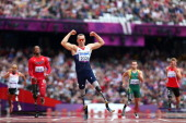 Richard Whitehead of Great Britain celebrates winning gold in the Men's 200m T42 Final on day 3 of the London 2012 Paralympic Games at Olympic...