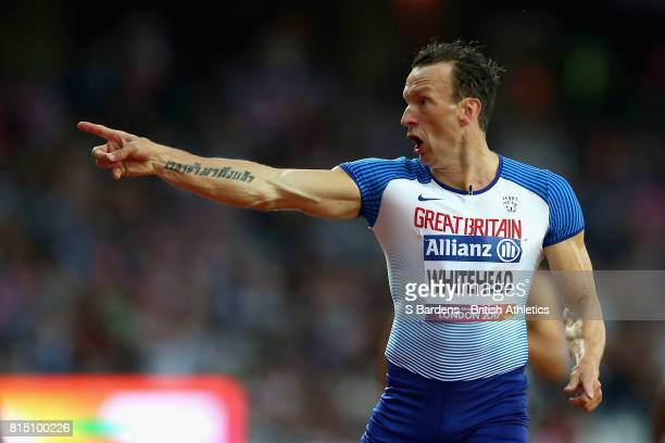 Richard Whitehead of Great Britain celebrates winning the gold medal in the Men's 200m T42 Final during Day Two of the IPC World ParaAthletics...