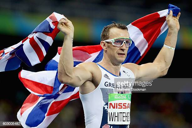 Richard Whitehead of Great Britain celebrates winning the men's 200 meter T42 final at Olympic Stadium during day 4 of the Rio 2016 Paralympic Games...
