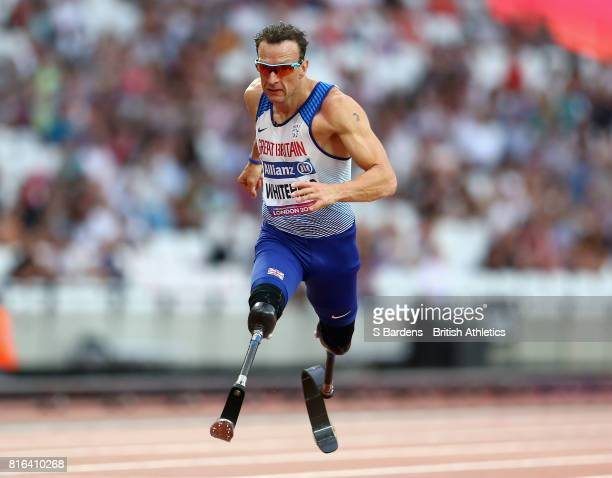Richard Whitehead of Great Britain competes in the Men's 100m T42 Final during Day Four of the IPC World ParaAthletics Championships 2017 London at...