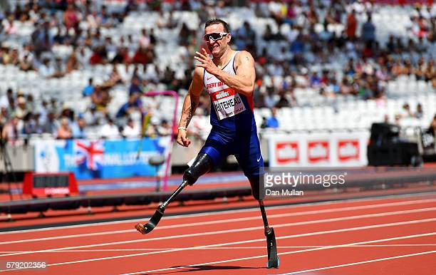 Richard Whitehead of Great Britain competes in the Men's T42 200m during Day Two of the Muller Anniversary Games at The Stadium Queen Elizabeth...