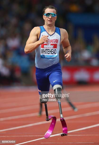 Richard Whitehead of Great Britain competes in the Mens T42 200m race during the Muller Grand Prix Birmingham meeting at Alexander Stadium on August...