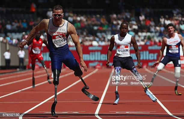 Richard Whitehead of Great Britain in action during the Mens 200m T42 race during day two of the Muller Anniversary Games at The Stadium Queen...