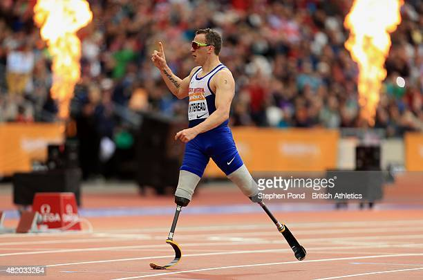 Richard Whitehead of Great Britain wins the Men's T42 200m during the IPC Grand Prix Final on day three of the Sainsbury's Anniversary Games event at...