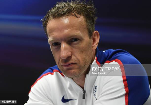 Richard Whitehead poses during the announcement of the british athletics team for the World Para Athletics Championships at Olympic Stadium on June 7...