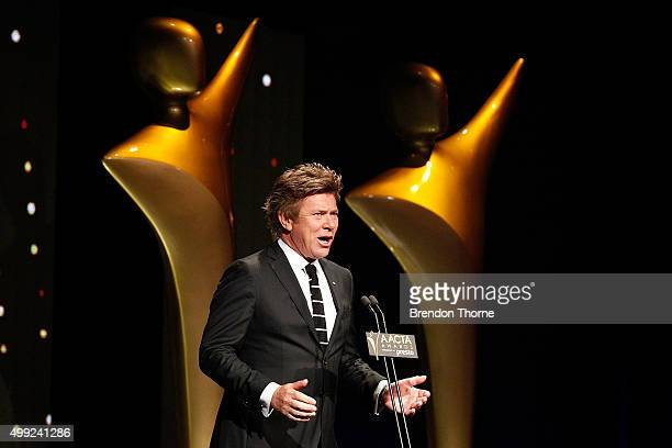 Richard Wilkins addresses the audience at the 5th AACTA Awards Presented by Presto | Industry Dinner Presented by Blue Post at The Star on November...