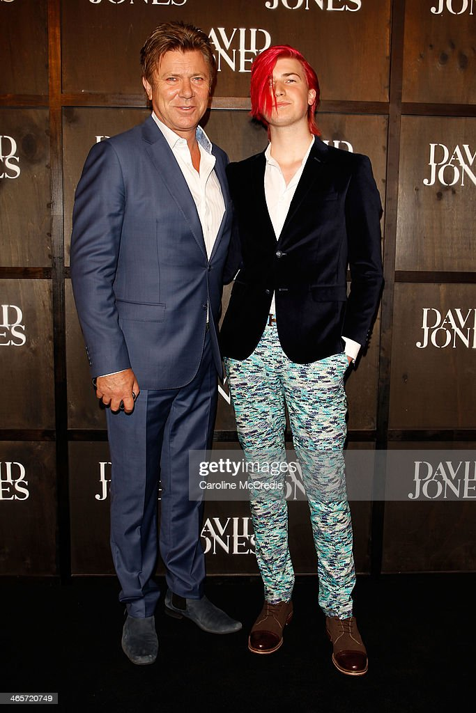 Richard Wilkins and Christian Wilkins arrive at the David Jones A/W 2014 Collection Launch at the David Jones Elizabeth Street Store on January 29, 2014 in Sydney, Australia.