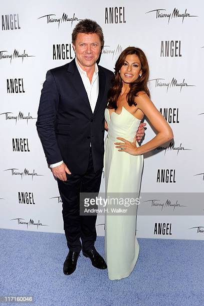Richard Wilkins joins Eva Mendes as she reveals her new campaign for Angel by Thierry Mugler at IAC Building on June 23 2011 in New York City