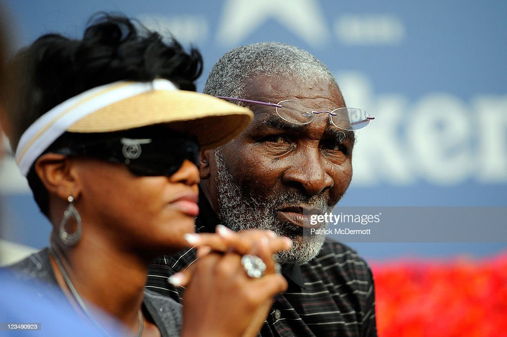 Richard Williams (R) and his wife Lakeisha Graham (L) watch Serena Williams of the United States play against Victoria Azarenka of Belarus during Day Six of the 2011 US Open at the USTA Billie Jean King National Tennis Center on September 3, 2011 in the Flushing neighborhood of the Queens borough of New York City.