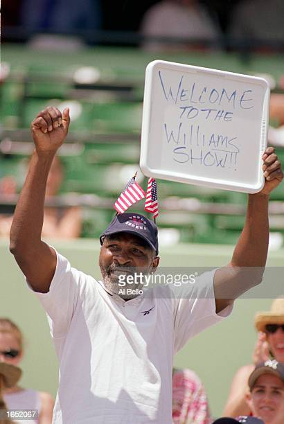 Richard Williams father of Venus and Serena Williams cheers them on in the Women's Finals during the Lipton Championships on March 28 1999 in Key...