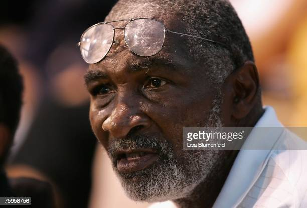 Richard Williams father of Venus Williams watches as she competes against Anna Chakvetadze of Russia during the Day 5 match of the Acura Classic at...
