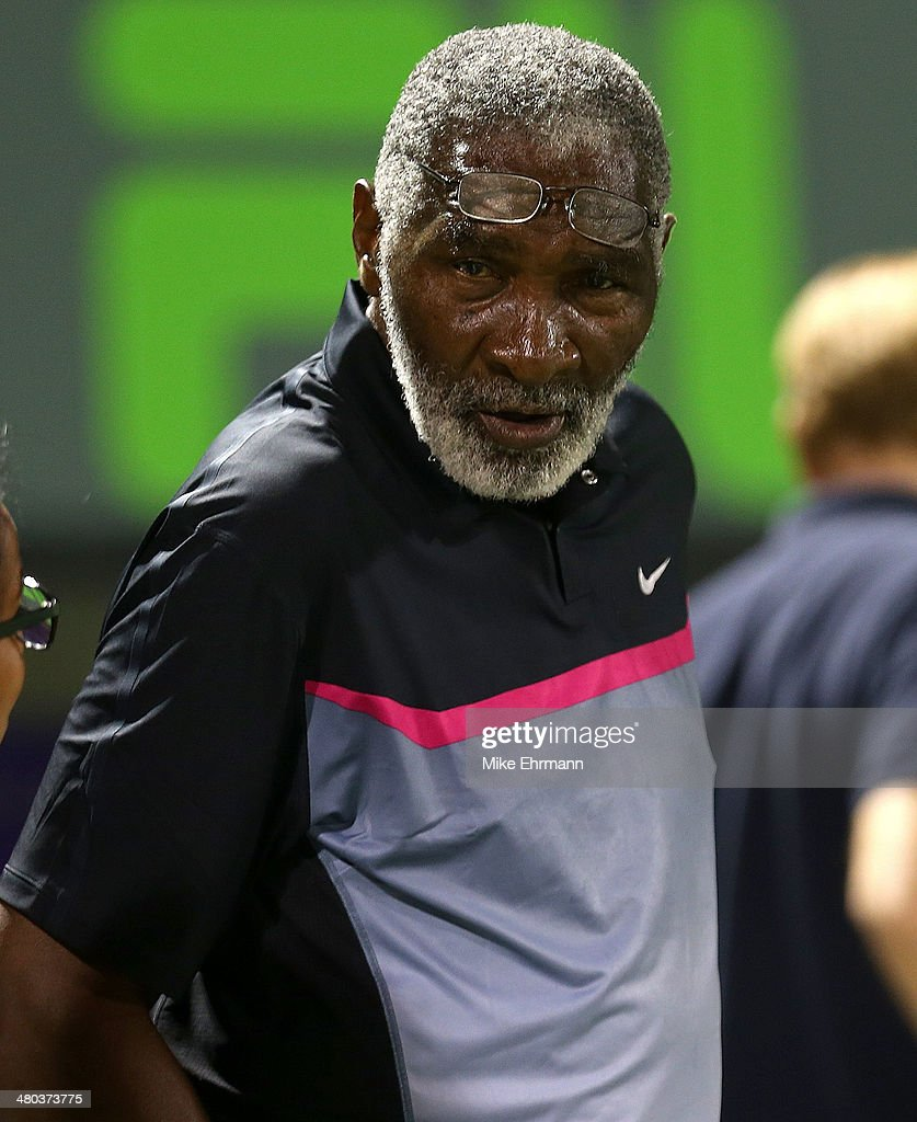 Richard Williams looks on during Venus Williams match against Dominika Ciblukova of Slovakia during their match on March 24, 2014 in Key Biscayne, Florida.
