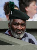 Richard Williams watches on as Venus Williams is in action against Mary Pierce of France during the eighth day of the Wimbledon Lawn Tennis...