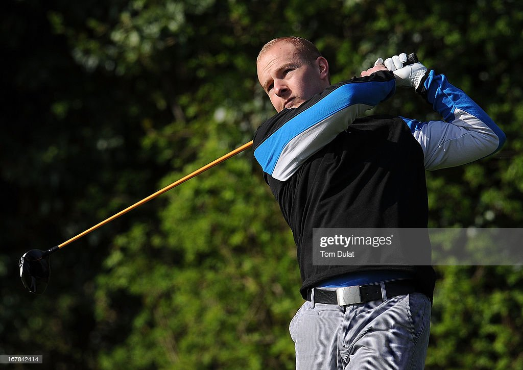 Richard Wistow tees off from the 1st hole during the Powerade PGA Assistants' Championship East Regional Qualifier at Chigwell Golf Club on May 01, 2013 in Chigwell, England.