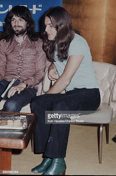 Richard Wright and David Gilmour Pink Floyd at press conference on their visit to Japan Tokyo August 1971