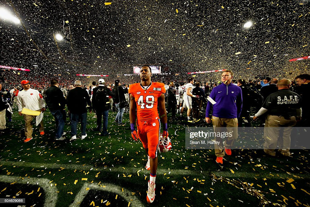 Richard Yeargin #49 of the Clemson Tigers reacts after being defeated by the Alabama Crimson Tide 45-40 in the 2016 College Football Playoff National Championship Game at University of Phoenix Stadium on January 11, 2016 in Glendale, Arizona.