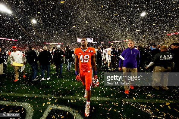Richard Yeargin of the Clemson Tigers reacts after being defeated by the Alabama Crimson Tide 4540 in the 2016 College Football Playoff National...