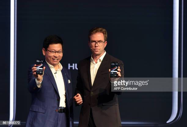 Richard Yu CEO of Chinese Huawei Consumer Business Group and and Jan Becker Chief Operating Officer of Porsche Design present the new Huawei Mate 10...