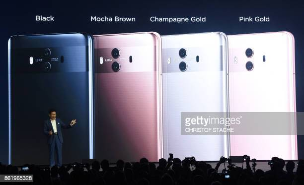 TOPSHOT Richard Yu CEO of Chinese Huawei Consumer Business Group presents the new Huawei Mate 10 highend smartphone in Munich southern Germany on...