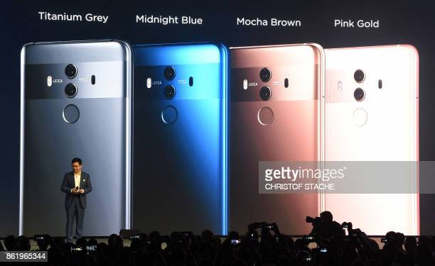 Richard Yu CEO of Chinese Huawei Consumer Business Group presents the new Huawei Mate 10 highend smartphone in Munich southern Germany on October 16...