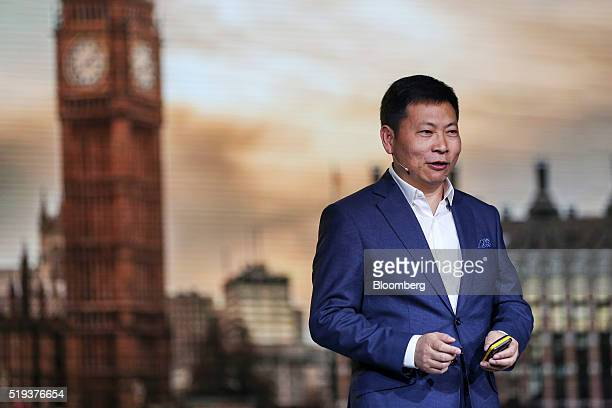 Richard Yu chief executive officer of consumer devices division for Huawei Technologies Co speaks at the launch event of their P9 smartphone in...