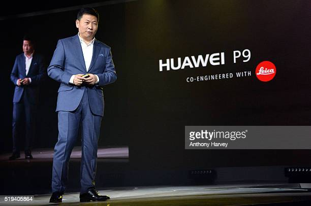 Richard Yu Chief Executive Officer of Huawei Cunsumer Business Group attends the Huawei P9 global launch at Battersea Evolution on April 6 2016 in...
