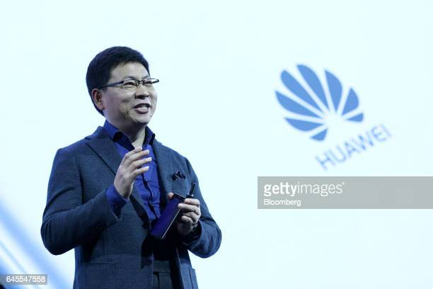 Richard Yu chief executive officer of Huawei Technologies Co Ltd gestures while speaking during the launch of P10 P10 Plus smartphones and Huawei...