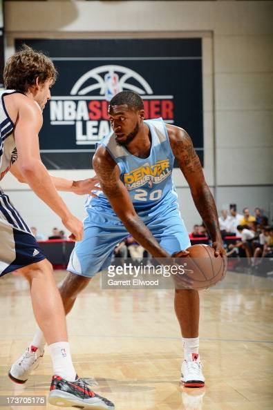 RichardHowell of the Denver Nuggets protects the ball during NBA Summer League game between the Denver Nuggets and the Washington Wizards on July 16...