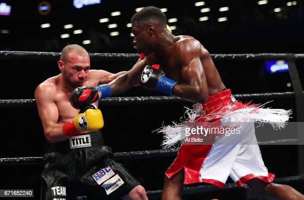 Richardson Hitchins punches Alexander Picot during theirJunior Welterweight bout at the Barclays Center on April 22 2017 in New York City