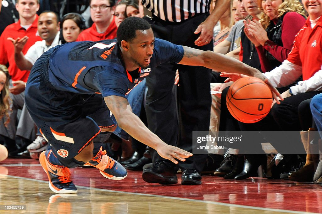 D.J. Richardson #1 of the Illinois Fighting Illini dives to try and save a loose ball from going out of bounds in the first half against the Ohio State Buckeyes on March 10, 2013 at Value City Arena in Columbus, Ohio. Richardson was unable to save the ball from going out of bounds.