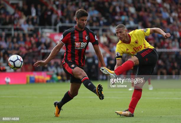 Richarlison de Andrade of Watford and boAndrew Surman during the Premier League match between AFC Bournemouth and Watford at Vitality Stadium on...
