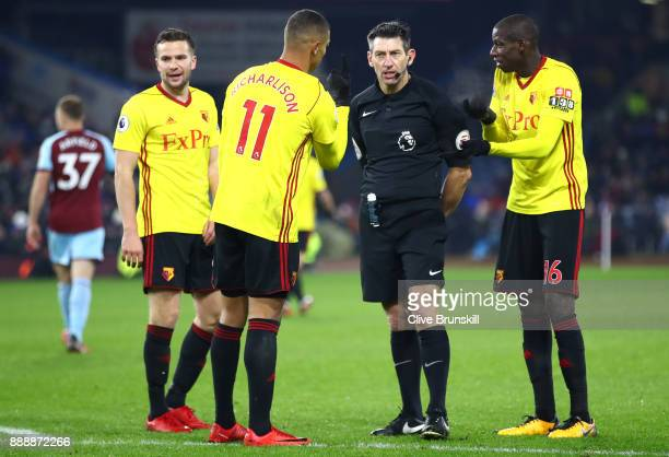 Richarlison de Andrade of Watford and team mates appeal to the referee during the Premier League match between Burnley and Watford at Turf Moor on...