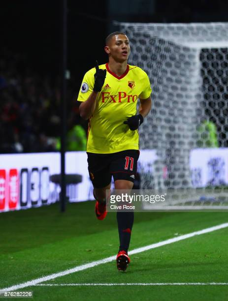 Richarlison de Andrade of Watford celebrates as he scores their second goal during the Premier League match between Watford and West Ham United at...