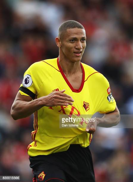 Richarlison de Andrade of Watford celebrates scoring his sides first goal during the Premier League match between AFC Bournemouth and Watford at...