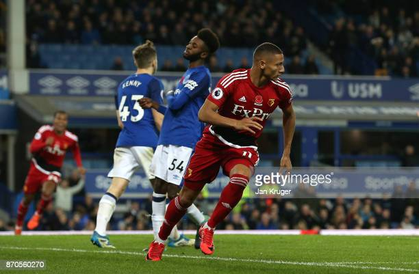 Richarlison de Andrade of Watford celebrates scoring his sides first goal during the Premier League match between Everton and Watford at Goodison...