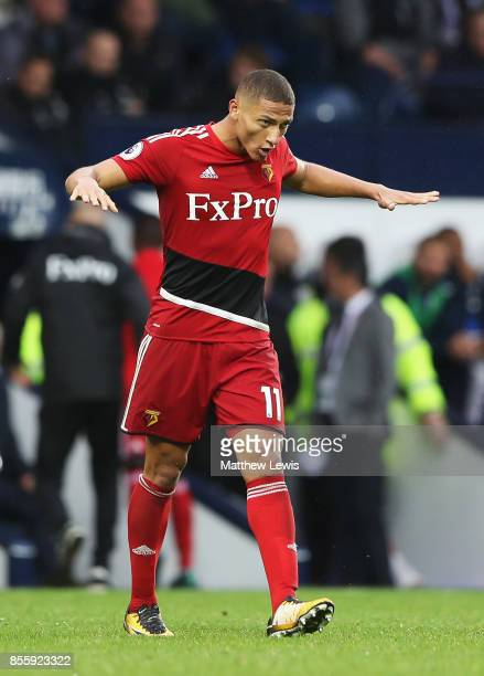 Richarlison de Andrade of Watford celebrates scoring his side's second goal during the Premier League match between West Bromwich Albion and Watford...