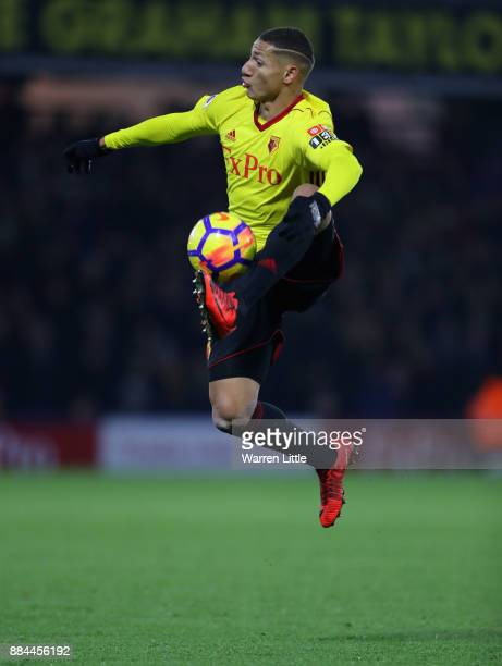 Richarlison de Andrade of Watford controls the ball in mid air during the Premier League match between Watford and Tottenham Hotspur at Vicarage Road...