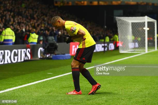 Richarlison de Andrade of Watford dances as he celebrates as he scores their second goal during the Premier League match between Watford and West Ham...