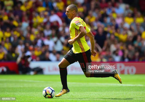 Richarlison de Andrade of Watford in action during the Premier League match between Watford and Liverpool at Vicarage Road on August 12 2017 in...