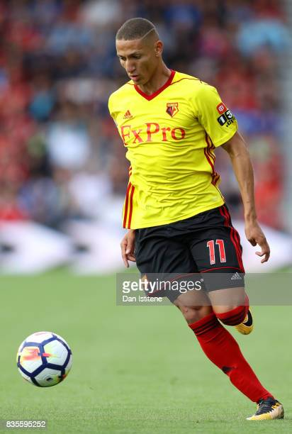 Richarlison de Andrade of Watford in action during the Premier League match between AFC Bournemouth and Watford at Vitality Stadium on August 19 2017...