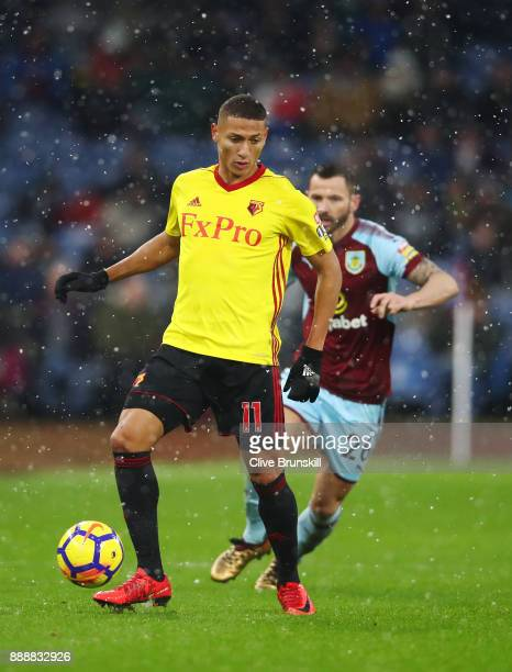 Richarlison de Andrade of Watford on the ball during the Premier League match between Burnley and Watford at Turf Moor on December 9 2017 in Burnley...